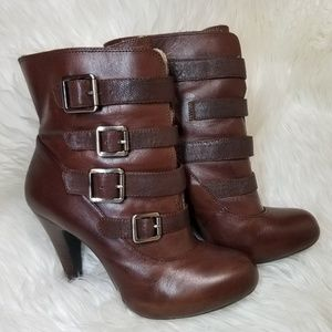 Gianni Bini Brown Fur Lined Leather Ankle Boots